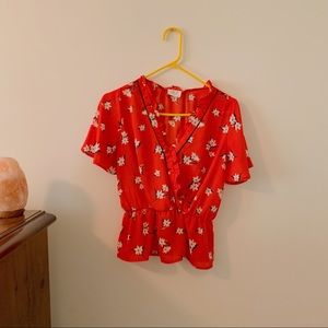 MARSHALS Red Floral Print Peplum Blouse
